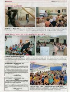 Diario de Ávila 4 de agosto de 2012: El arte de la cetrería se expande (Narros del Castillo, Santa María del Berrocal)